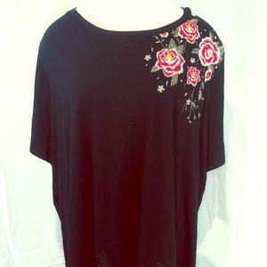 Torrid Soft Knit Black Embroidered Shirt 3X